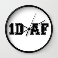 1d Wall Clocks featuring 1D AF by SaladInTheWind