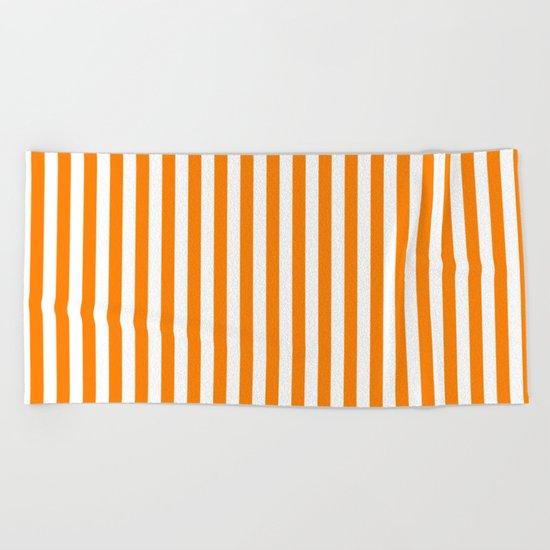 Vertical Stripes (Orange/White) Beach Towel