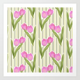 Retro. Pink tulips on a green striped background . Art Print
