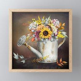Farm Sunflowers in Watering Can Framed Mini Art Print