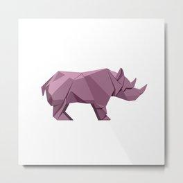 Origami Rhino Metal Print