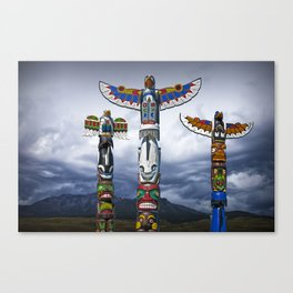 Colorful Totem Poles in the Northwest Canvas Print