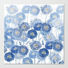 blue indigo dandelion pattern watercolor Canvas Print