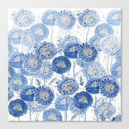 blue indigo dandelion pattern watercolor Canvas Print