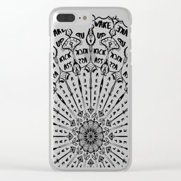 Wake up, Kick A**, Repeat - Black and White Mandala Clear iPhone Case