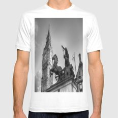Big Ben and Boadicea Statue  White Mens Fitted Tee MEDIUM