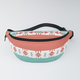 South Western Print in Modern Aqua Turquoise and Coral Geometric Diamonds Arrows Triangles Circles Fanny Pack