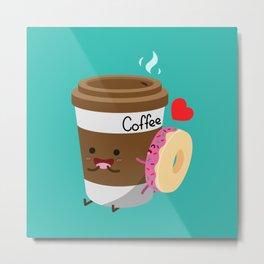 Coffee and Donut Metal Print