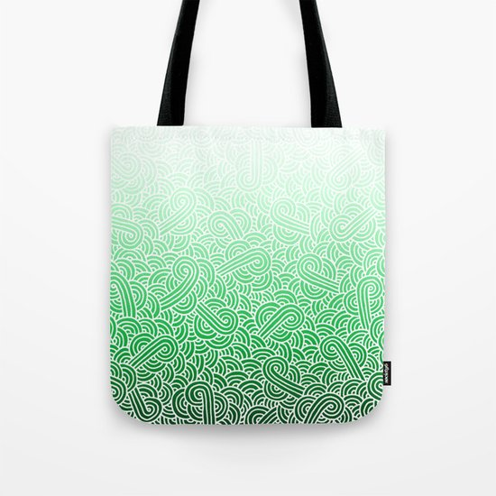 Ombre green and white swirls doodles Tote Bag