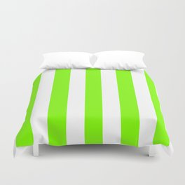 Chartreuse (web) green - solid color - white vertical lines pattern Duvet Cover