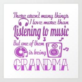 Listening To Music Grandma Art Print