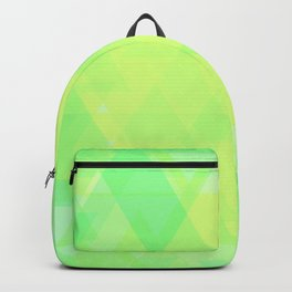 Bright lime and lemon triangles in the intersection and overlay. Backpack
