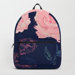 Vintage roses and peonies with indigo palette Backpack