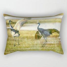 Sandhill Cranes Mating Dance Rectangular Pillow