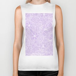 Modern trendy white floral lace hand drawn pattern on pastel lavender Biker Tank