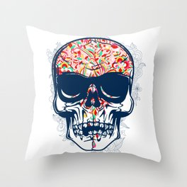 Dead Skull Zombie with Brain Throw Pillow
