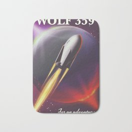 Wolf 359 Vintage science fiction space travel Bath Mat