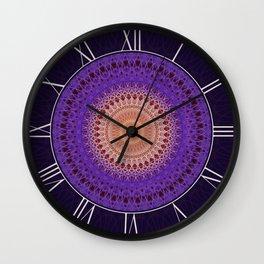 Mandala in plum and pastel peach tones Wall Clock