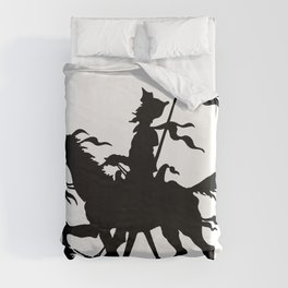 Don Quixote of La Mancha and Rocinante | Don Quixote Silhouette | Black and White | Duvet Cover