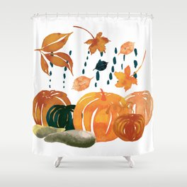 Trendy Pumpkin Rain Shower Curtain