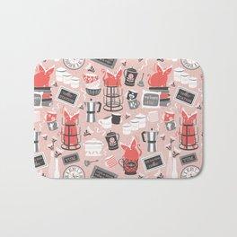Modern farmhouse coffee station // pink Bath Mat