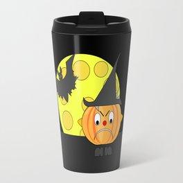 Funny angry pumpkin head with bat and moon Travel Mug