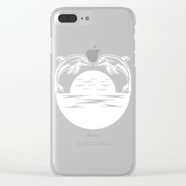 Image Of Dolphins Ideal Gift For People Who Like Animals And Dolphins Sea Creatures Ocean  T-shirt Clear iPhone Case