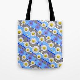 DECORATIVE DIAGONAL PATTERN BLUE MODERN ART WHITE SHASTA DAISIES Tote Bag
