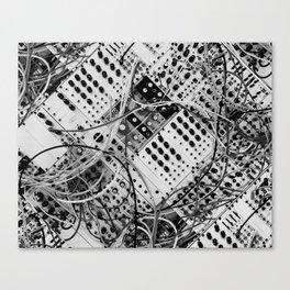 analog synthesizer  - diagonal black and white illustration Canvas Print