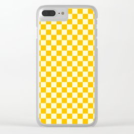 Cream Yellow and Amber Orange Checkerboard Clear iPhone Case
