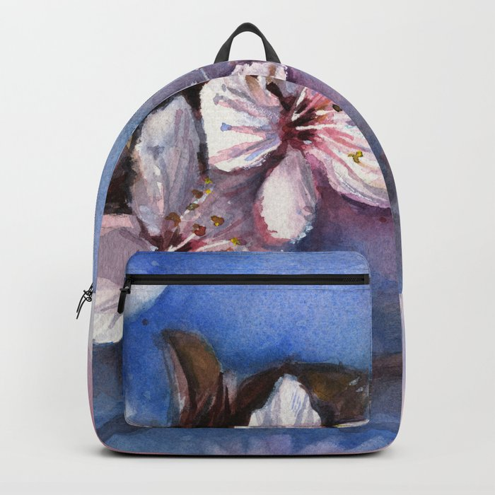 Cherry Blossoms Watercolor Spring Flowers Backpack