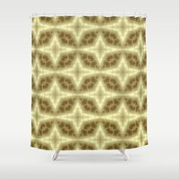 coasters Shower Curtains featuring Abstract Gold Pattern by Lena Photo Art