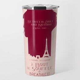 Breathless (À bout de souffle) minimal movie poster, Jean-Luc Godard, classic french film, new wave Travel Mug