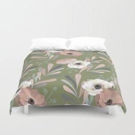 Anemones & Olives - Green Duvet Cover