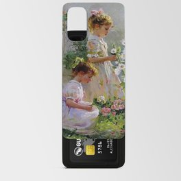 Beautiful Painting Of Two Girls Picking Flowers Android Card Case