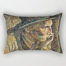The Thinker by Vilho Lampi - Finnish Expressionism - Fine Art Oil Rectangular Pillow
