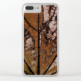 OLD BROWN LEAF WITH VEINS SHABBY CHIC DESIGN ART Clear iPhone Case