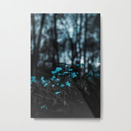 Blue Wildflowers in a Forest Metal Print