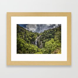Storm at Aber falls wales uk Framed Art Print