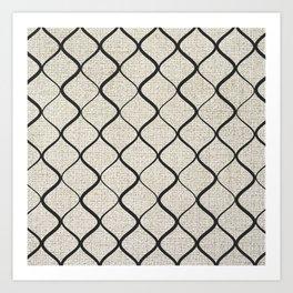 Black Bege Modern Lines Pattern Art Print