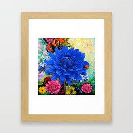 CONTEMPORARY BLUE DAHLIA GARDEN ART Framed Art Print