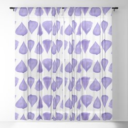 Teardrop Pattern Brush Graphic Artwork Ultra Violet Love Sheer Curtain