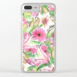 Pink Floral Print Clear iPhone Case