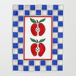 Apples and Checkered Design Poster