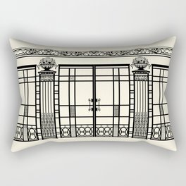 ART DECO, ART NOUVEAU IRONWORK: Black and Cream Rectangular Pillow