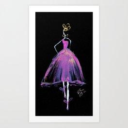 Hot Pink Fashion Illustration Art Print