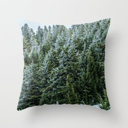 Snow Bank Woodlands // Photograph of the Dense Blue Green Evergreen Pine Tree Forest Throw Pillow