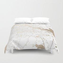 Amsterdam White on Gold Street Map II Duvet Cover