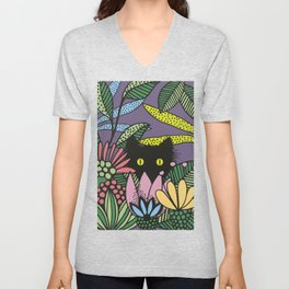 Cat in the Garden playing Hide and Seek Unisex V-Neck