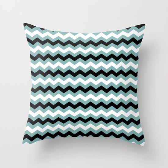 Chevron Aqua Black Throw Pillow
